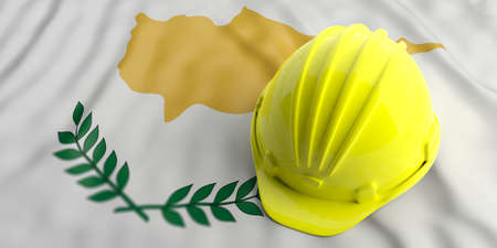 Construction industry in Cyprus. Yellow hard hat on Cyprus waving flag background. 3d illustration