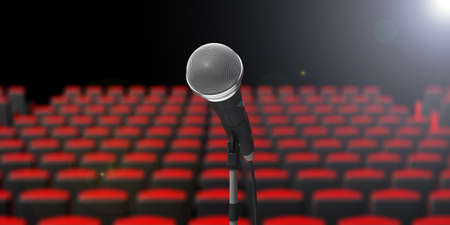 Theater stage. Cable microphone on blur theater seats background. 3d illustration