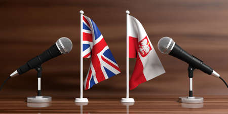 Relationship between England and Poland. Cable microphones on stands on a wooden background, banner. 3d illustration