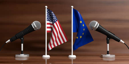 Relationship between European Union and America. Cable microphones on stands on a wooden background, banner. 3d illustration
