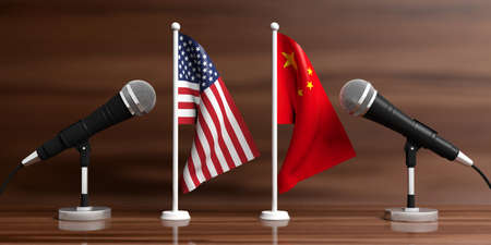 Relationship between America and China. Cable microphones on stands on a wooden background, banner. 3d illustration