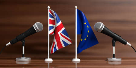 Relationship between European Union and England. Cable microphones on stands on a wooden background, banner. 3d illustration Stock Photo