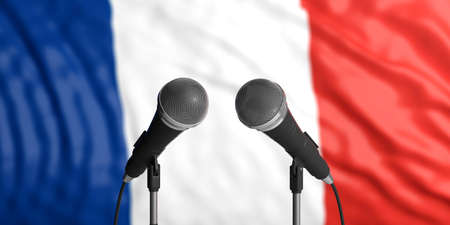 France blur flag backdrop, two cable microphones in front. Political, business concept. 3d illustration