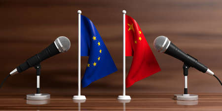 Relationship between European Union and China. Cable microphones on stands on a wooden background, banner. 3d illustration 写真素材