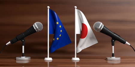 Relationship between European Union and Japan. Cable microphones on stands on a wooden background, banner. 3d illustration