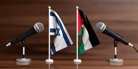 Relationship between Palestine and Israel. Cable microphones on stands on a wooden background, banner. 3d illustration