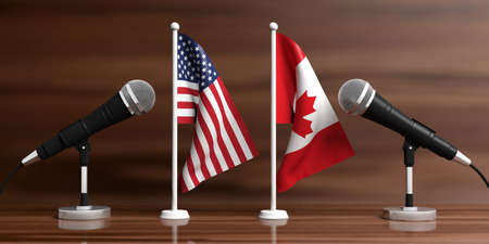 Relationship between America and Canada. Cable microphones on stands on a wooden background, banner. 3d illustration Stock Photo