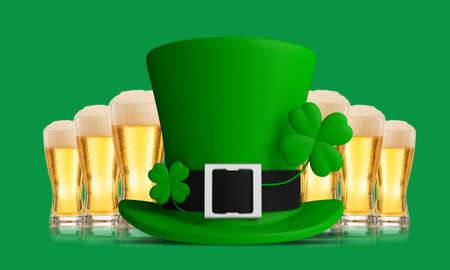 St Patricks Day leprechaun hat and beer glasses isolated on green background, front view. 3d illustration Stock Photo