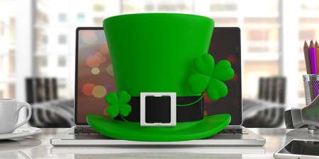 St Patricks Day leprechaun hat with four leaf clover on office desk, blur background, front view. 3d illustration