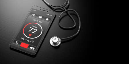 Health app. Heartbeats on a smartphone screen and a stethoscope, black background, banner, copy space. 3d illustration