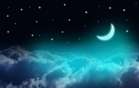 Waxing crescent moon over clouds in a starry night Stock Photo