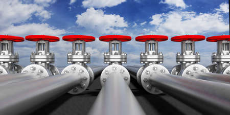 Row of industrial pipelines and valves with red wheels on blue sky background, banner, closeup view. 3d illustration Standard-Bild