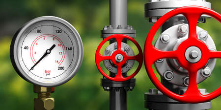 Industrial high pressure gas manometer, pipelines and valves on blur green nature background, 3d illustration Stock Photo