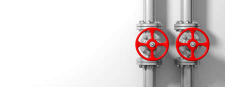 Two industrial pipelines and valves with red wheels on white wall background, banner, space for text. 3d illustration