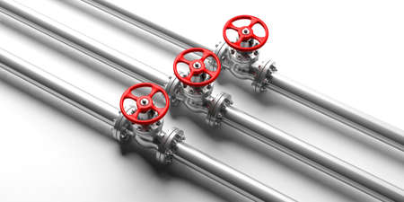 Three industrial pipelines and valves with red wheels on white background. 3d illustration