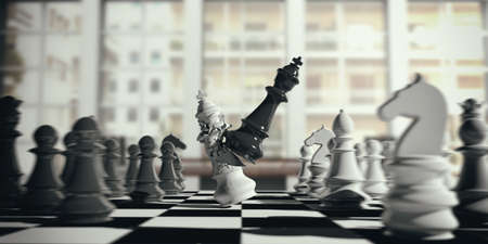 Chess victory for black. White chess king broken by the black king on a chessboard, blur background. 3d illustration