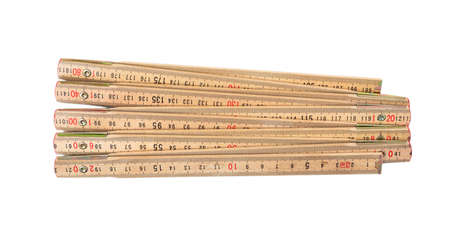 Wooden foldable meter isolated on white background, top view Stockfoto