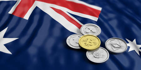 Cryptocurrency in Australia concept. Golden bitcoin and variety of silver virtual coins on Australia flag background. 3d illustration