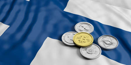 Cryptocurrency in Finland concept. Golden bitcoin and variety of silver virtual coins on Finland flag background. 3d illustration