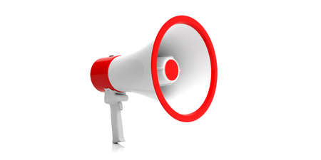 Megaphone, bullhorn white with red details for public announcement isolated on white background. Close up front view. 3d illustration Stock Photo