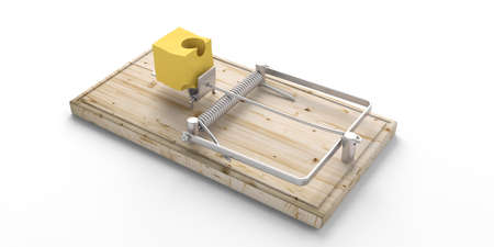 Wooden mouse trap with bait cheese isolated on white background. 3d illustration Stock Photo