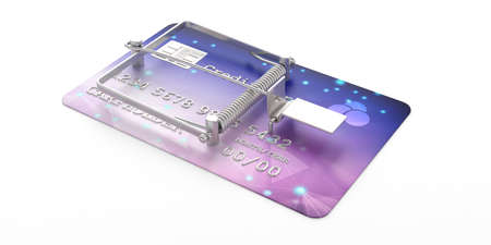 Credit card mouse trap isolated on white background, perspective view. 3d illustration