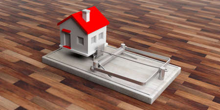 Mortgage loan trap. House on a mouse trap isolated on wooden floor background. 3d illustration