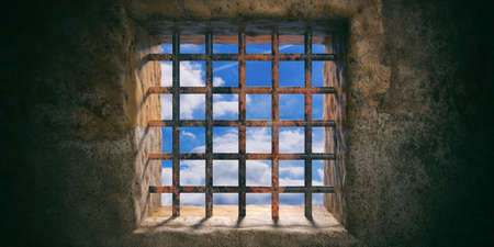 Prison, jail window with rusty bars and blue sky view on old wall background. 3d illustration Stok Fotoğraf