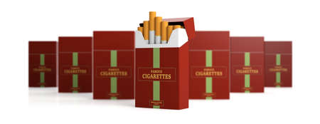 Smoking. Brand name cigarette pack and blur packs isolated on white background, banner. 3d illustration