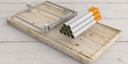 Smoking is a bait. Cigarettes heap on a mouse trap, white wooden background. 3d illustration