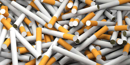 Smoking concept. Cigarettes with yellow filter full background. 3d illustration Stock Photo