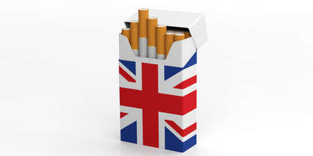 Smoking cigarettes in UK. United Kingdom flag on a cigarette packet isolated on white background. 3d illustration