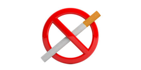 No smoking sign with a cigarette isolated on white background. 3d illustration