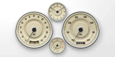 Vintage car gauges isolated on white background. Indications for speed, fuel, RpM, distance and temperature. 3d illustration