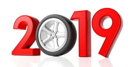 New year 2019 with cars wheel and red digits isolated on white background. 3d illustration