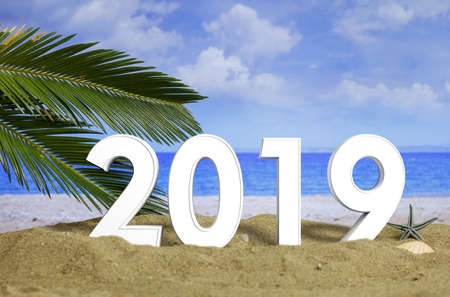 New year 2019 celebration on the beach, summer christmas vacations concept. 3d illustration Stock Photo