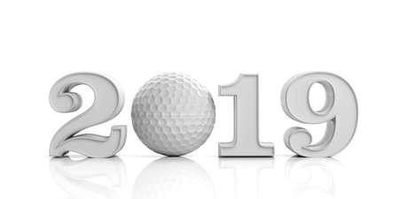 Golf 2019. New year 2019 with golf ball isolated on white background. 3d illustration Archivio Fotografico