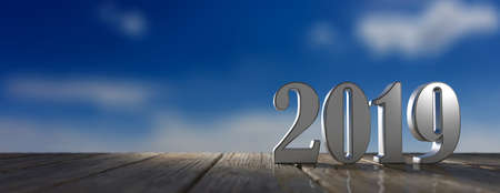 New year 2019 digits on wooden floor, blue sky at dawn background, banner, copy space. 3d illustration