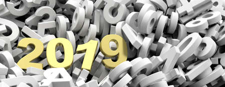 2019 New year. Golden 2019  figures on white numbers heap background, banner. 3d illustration Stock Photo