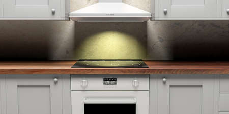 Kitchen cabinets detail and eletric stove and hood, front view. 3d illustration 版權商用圖片 - 97996499