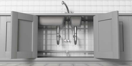 Kitchen cabinets with open doors, stainless steel sink and water tap, under view. White ceramic tiles wall backgound. 3d illustration Foto de archivo
