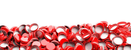 Blank, red beer caps pile on white background, space for text, banner. 3d illustration Banco de Imagens - 99267521