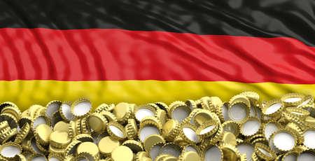 German beers. Golden beer caps pile on Germany flag background. 3d illustration
