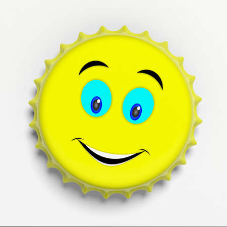 Big smile emoticon on a yellow metal beer cap isolated on white background, top view. 3d illustration Banco de Imagens - 99267579
