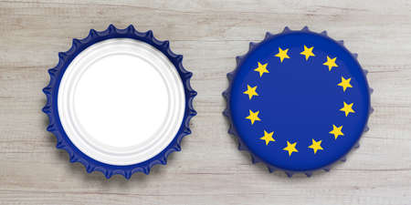 EU and beer or alcohol concept. Front and back view of beer caps with European union flag isolated on wooden background, top view. 3d illustration