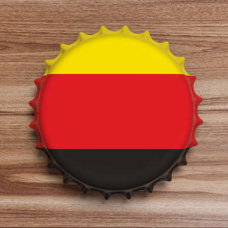Octoberfest, Beer festival, Germany. Beer cap with Germany flag on wooden background, top view. 3d illustration