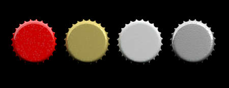 Various colors blank beer caps isolated on black background, top view, banner, space for text. 3d illustration