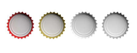 Various colors beer caps isolated on white background, top view, banner. 3d illustration