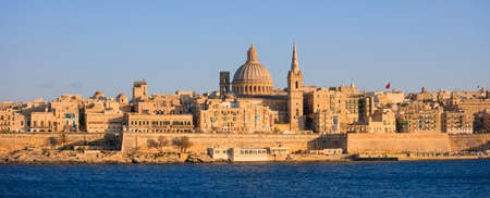 Valletta, Malta, Skyline in the afternoon with the dome of the Carmelite Church and the tower of St Paul`s Stock Photo