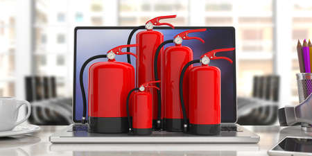 Fire safety, Red fire extinguishers, various sizes, on computer, blur office background. 3d illustration